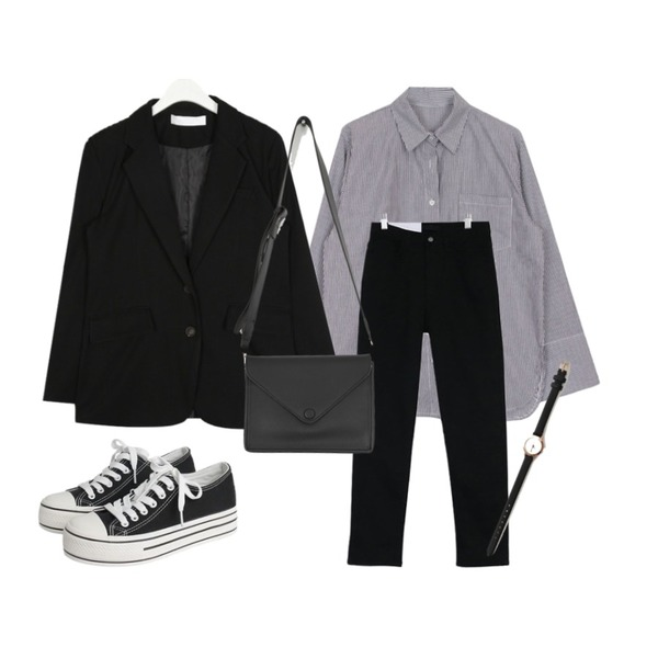 biznshoe Thin stripe shirts (2color),AIN baber over fit jacket,acomma 그룸 코튼 일자핏 - pt (3COLOR)등을 매치한 코디