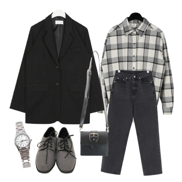 daily monday Cozy loose check shirts,From Beginning Cement washing charcoal pants_S (size : S,M,L),AIN bio natural jacket등을 매치한 코디