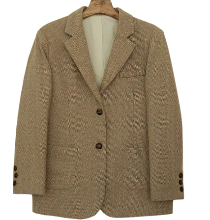 MMMM / caramel bread button herringbone wool jacket