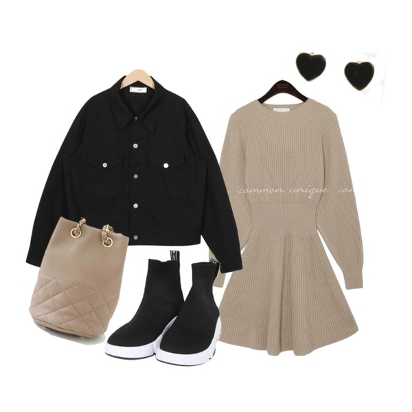 From Beginning Made_outer-052_simple cotton jacket_B (size : free),BULLANG GIRL 스트릿삭스운동화,common unique ORDINARY SLIM LINE FLARE KNIT OPS등을 매치한 코디