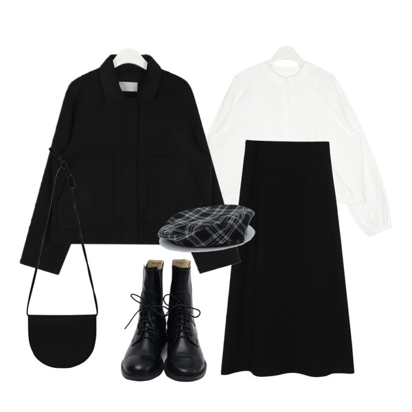 biznshoe Knit long skirt (Black),AIN big pocket short jacket (wool90%),AIN sporty string casual blouse등을 매치한 코디