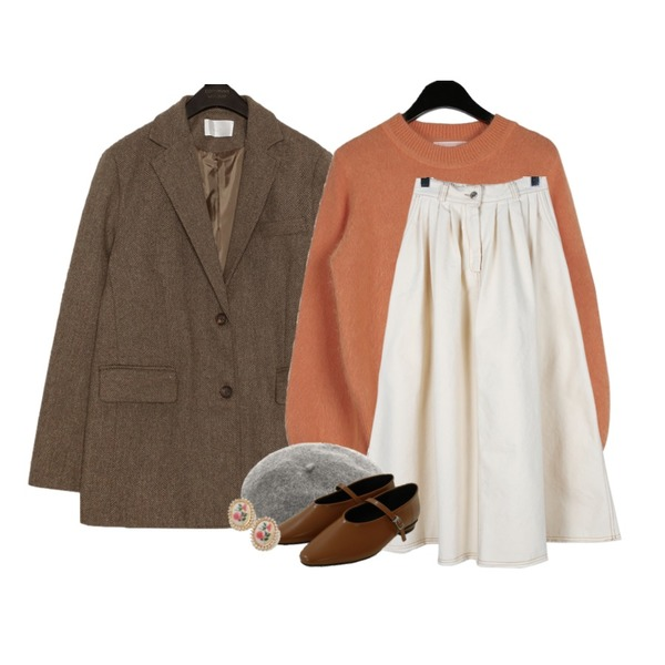 common unique MOST WOOL 40% 2 PIECE BELT SET,daily monday Downy angora knit,daily monday Casual banding long skirt등을 매치한 코디