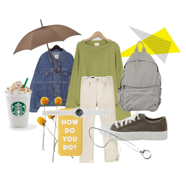 Untitled,yellow flower,common unique HADER BOXY DENIM JACKET등을 매치한 코디