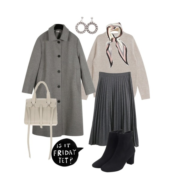 AIN pure 3-line scarf,daily monday Modern slim single coat,TODAY ME 디션 니트등을 매치한 코디