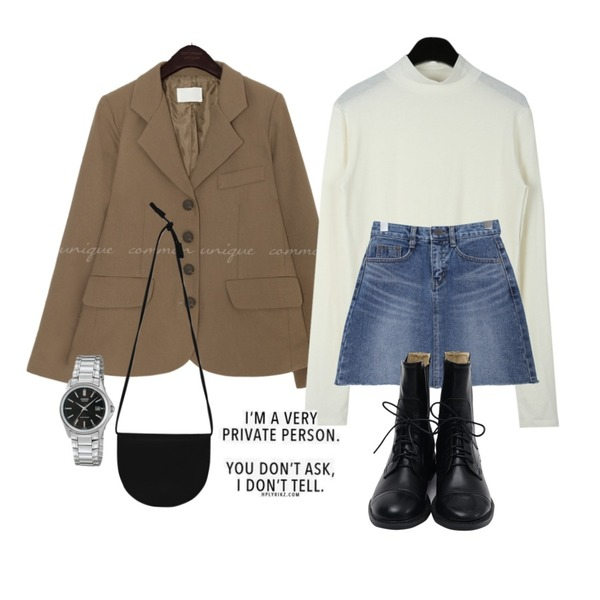 BULLANG GIRL 데미지컷팅SK,common unique MINUTE SET-UP 4 BUTTON JACKET,daily monday Soft half turtle knit등을 매치한 코디