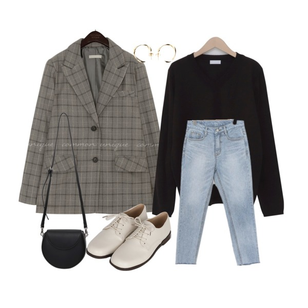 From Beginning Kate elastic daily knit_J (size : free),common unique BOLT CHECK BOXY SINGLE JACKET,LOVELY SHOES 드란츠 일자 데님 팬츠등을 매치한 코디