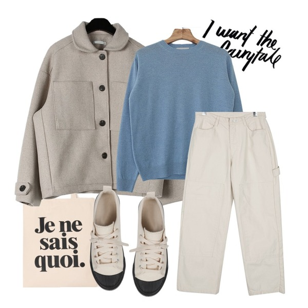 @thewriting,daily monday Sturdy wool short jacket,common unique SIMPLE LETTERING COTTON BAG등을 매치한 코디