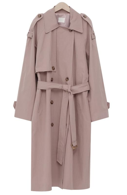 Latte double trench coat_K