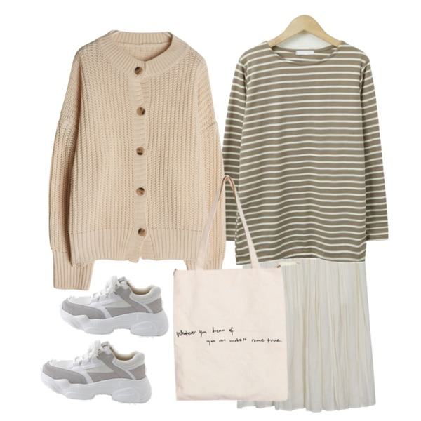 From Beginning Daily boat neck stripe T_SJEJ (size : free),From Beginning Angel pleats banding skirt_S (size : free),GIRLS RULE 파스텔 하찌 가디건 (cd183)등을 매치한 코디