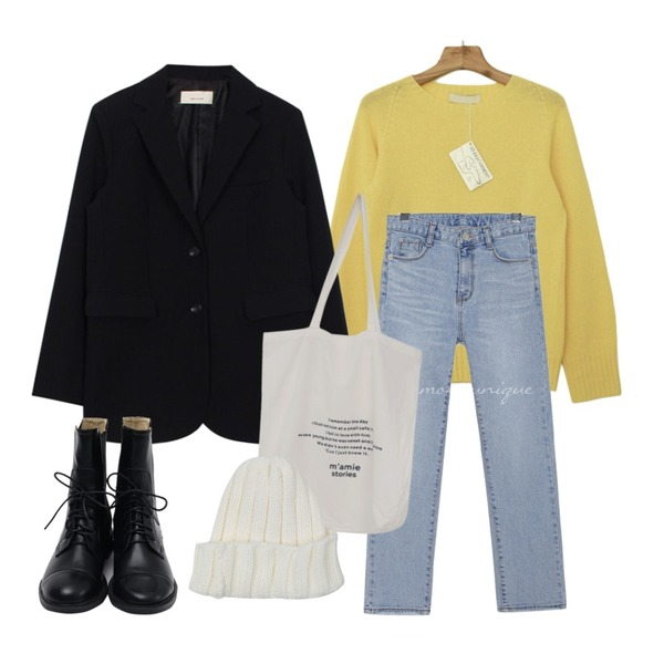 biznshoe Mannish jacket (2color),Zemma World 파스텔 홀가먼트니트(램스울65%),common unique EVER SLIM STRAIGHT DENIM PANTS등을 매치한 코디