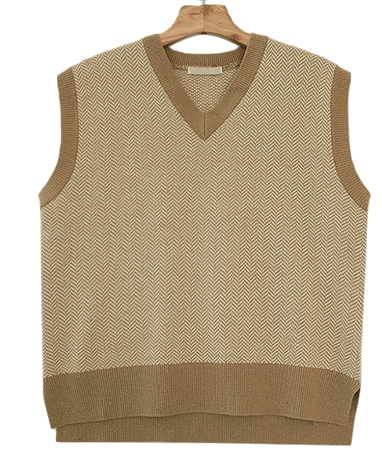 Herringbone wool knit vest