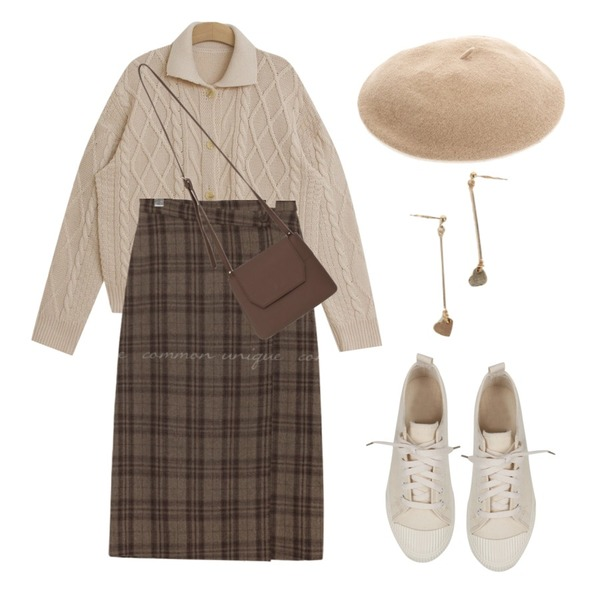 common unique AMONG WOOL CHECK WRAP LONG SKIRT,From Beginning Jully cover cross bag_B (size : one),TODAY ME 키치 가디건등을 매치한 코디