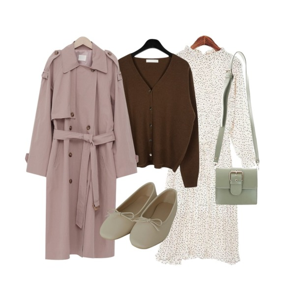 daily monday Flat wool short cardigan,From Beginning Latte double trench coat_K (size : free),ROCOSIX 루운스 플리츠 롱 원피스등을 매치한 코디