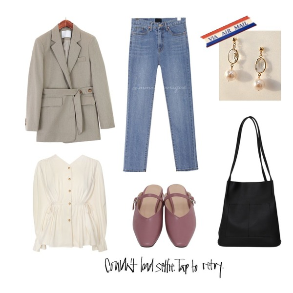 From Beginning Smooth pocket shopper bag_K (size : one),common unique [TOP] MOOD LINE STRAP BLOUSE - 2 TYPE,ROCOSIX 앤비슈 버튼스트랩 자켓등을 매치한 코디