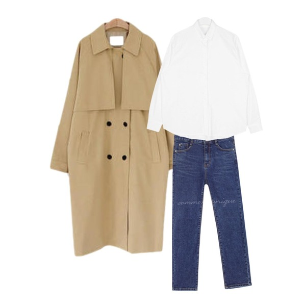 common unique EVER SLIM STRAIGHT DENIM PANTS,AIN oxford daily color shirts,LOVELY SHOES 히어로 트렌치 코트등을 매치한 코디