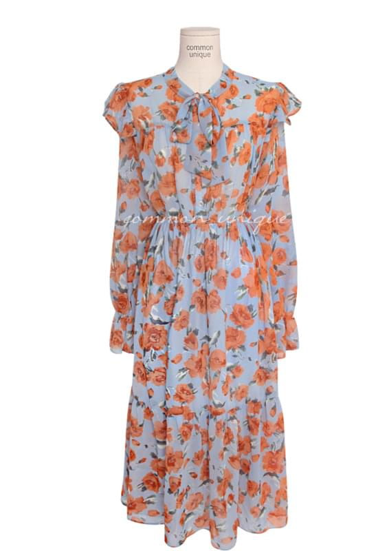 ONLY FLORAL CHIFFON TIE LONG OPS