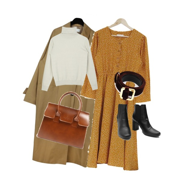 acomma 페트리 도트 롱 - ops (2COLOR),daily monday Square pocket single trench coat,MIXXMIX Skin High-neck Knit Top등을 매치한 코디