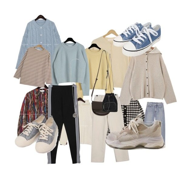 common unique CHECK WOOL PEARL PUFF CARDIGAN,AWAB 진주울앙고라라운드가디건,common unique [OUTER] PACIFIC TWIST LOOSE KNIT CARDIGAN등을 매치한 코디