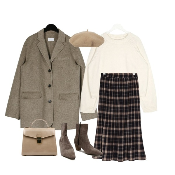 daily monday Handmade basic single jacket,AIN dessert round crop knit,From Beginning Cereal check pleats skirt_Y (size : free)등을 매치한 코디