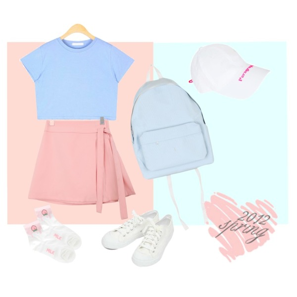 Sky Blue,Peach,openthedoor SALE paragraph logo string cap (white)등을 매치한 코디