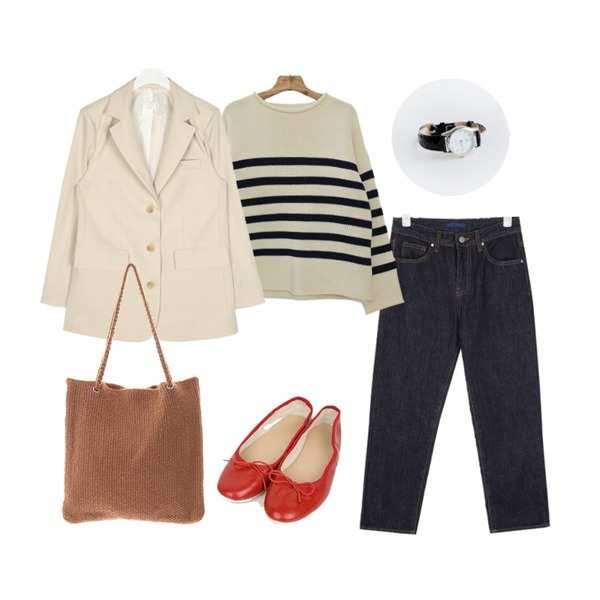 Zemma World MMMM/ 마린 스트라이프니트 (3 guage),AIN five ribbon flat shoes (225-250),AIN hope straight denim pants (s, m, l)등을 매치한 코디