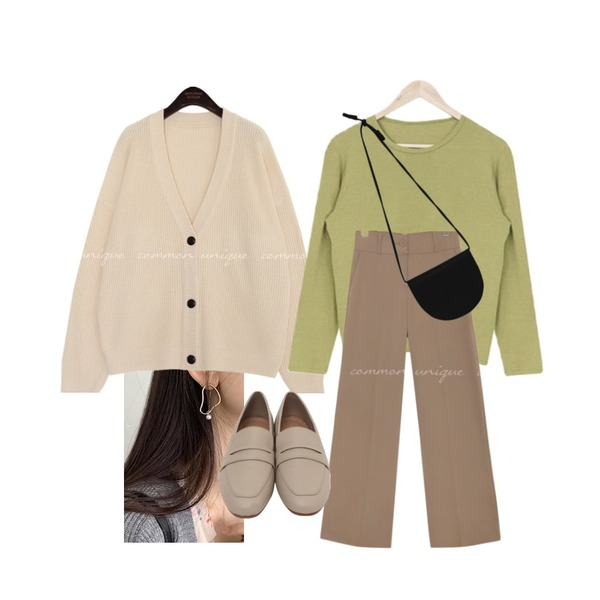 acomma 어반 베이직 - t (6COLOR),common unique [OUTER] LAYER V NECK KNIT CARDIGAN,MINIBBONG 어썸 진주 이어링등을 매치한 코디