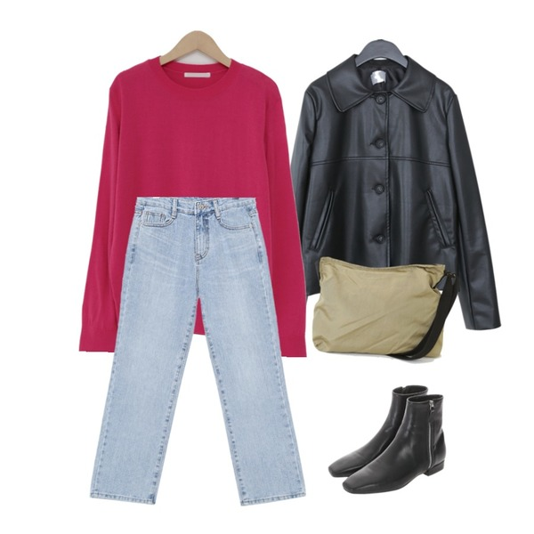common unique LIGHT WASHING BOY DENIM PANTS,From Beginning Barrow spring round knit_Y (size : free),AFTERMONDAY fake leather jacket (2colors)등을 매치한 코디