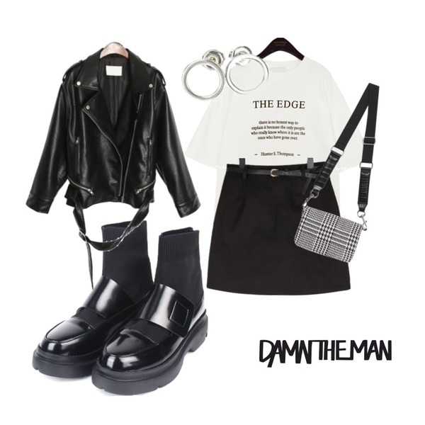 openthedoor leather velcro socks boots,common unique THE EDGE LETTERING 1/2 T,BULLANG GIRL 크라운면SK(치마바지)등을 매치한 코디