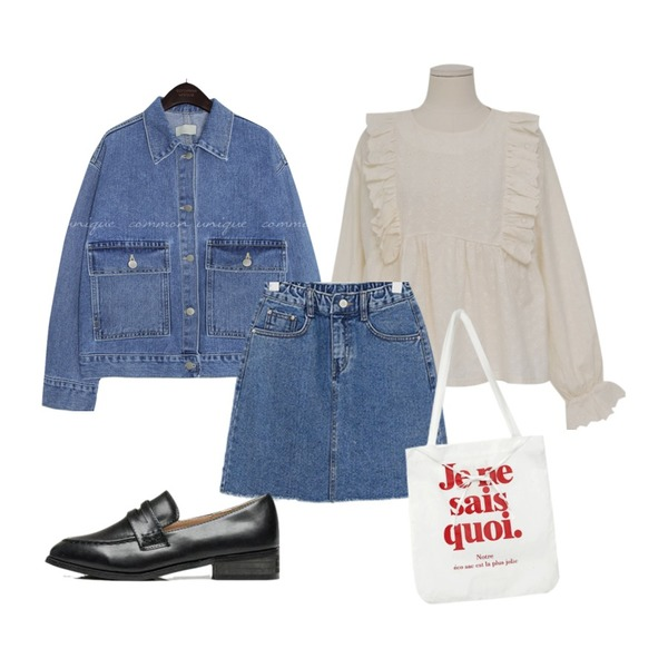 common unique STITCH WIDE POCKET DENIM JACKET,LOVELY SHOES 델리츠 청치마,From Beginning Punching frill flower blouse_Y (size : free)등을 매치한 코디