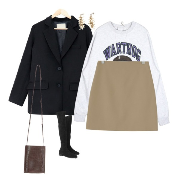 From Beginning Welwyn semi A-line skirt_S (size : S,M),openthedoor RUGBY MTM (2 color) - UNISEX,acomma 파니 투버튼 - jk (2COLOR)등을 매치한 코디