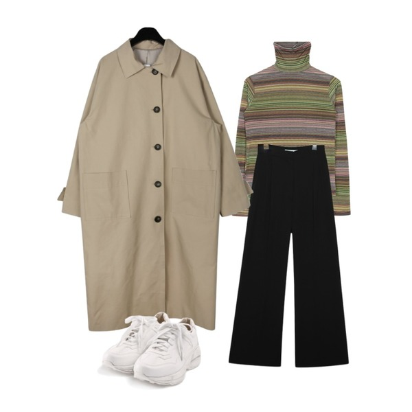 common unique [BOTTOM] FLOWING WIDE PINTUCK SLACKS,moaol rainbow stripe high-neck top (2colors),daily monday Square pocket single trench coat등을 매치한 코디