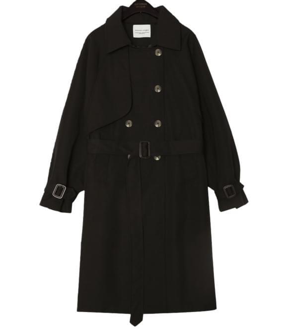 Belted Waist Double-Breasted Trench Coat