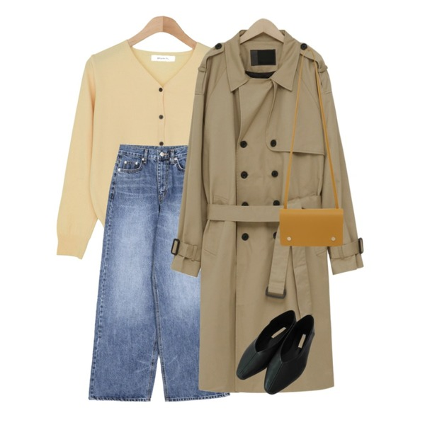 openthedoor washed wide denim long pants (2 color),BANHARU 1/2 days outer #307,From Beginning London unisex trench coat_B (size : L,LX)등을 매치한 코디