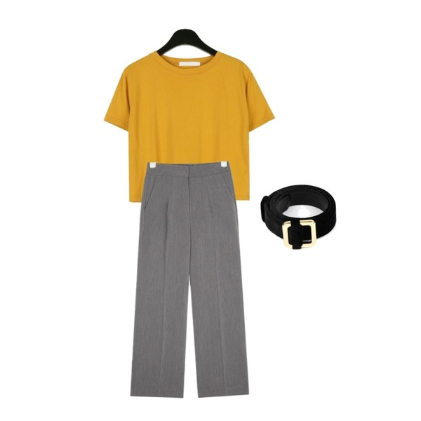 daily monday Visible color crop tee,openthedoor velvet square belt (4 color),AIN all for straight slacks (s, m, l)등을 매치한 코디