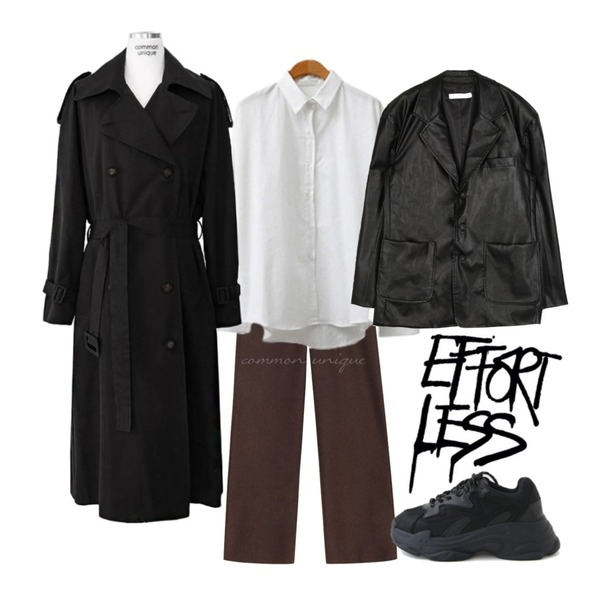 common unique [OUTER] DOUBLE RAGLAN BELT TRENCH COAT,common unique [BOTTOM] KERO WOOL 55% STRAIGHT SLACKS,ENVYLOOK 퍼리피치셔츠등을 매치한 코디
