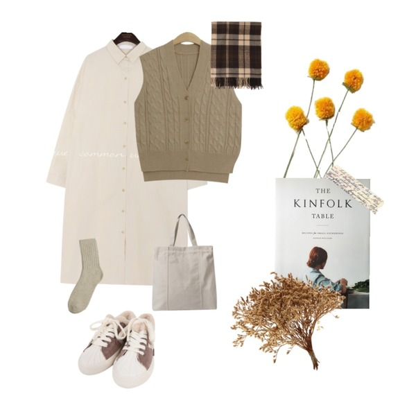 yellow flower,kinfolk table,common unique [OPS] TEASE SLIT COTTON LONG SHIRTS OPS등을 매치한 코디