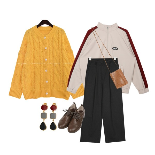 BANHARU various pendant earring,common unique [OUTER] PACIFIC TWIST LOOSE KNIT CARDIGAN,MIXXMIX HIDE Double Piping Zipup Top등을 매치한 코디