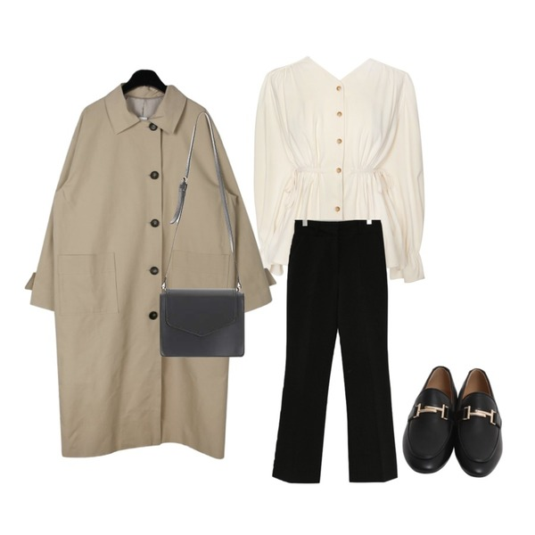 common unique [TOP] MOOD LINE STRAP BLOUSE - 2 TYPE,daily monday Square pocket single trench coat,Zemma World GENTLE SLACKS /ver.S/S슬림부츠컷등을 매치한 코디