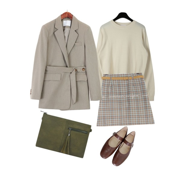 ROCOSIX 앤비슈 버튼스트랩 자켓,daily monday Soft basic round knit,common unique WANT CHECK BELT SET PANTS SKIRT등을 매치한 코디