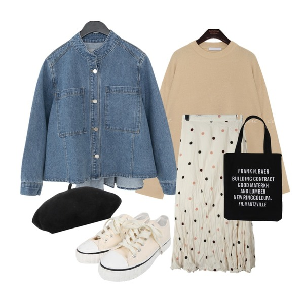 AFTERMONDAY china collar clean denim jacket,daily monday Crease dot long skirt,common unique 7 COLOR NATURAL ROUND NECK KNIT등을 매치한 코디