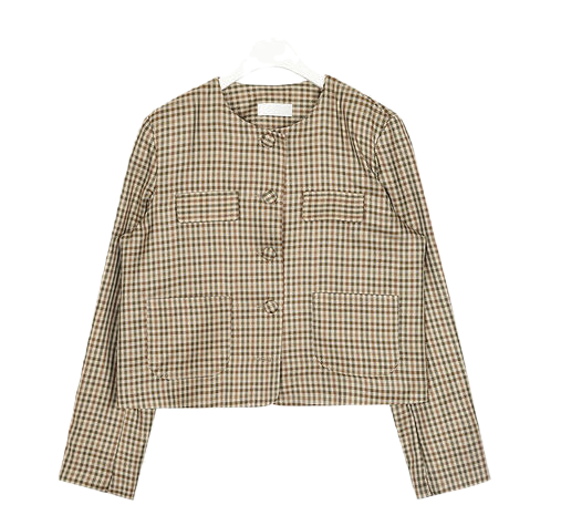 jenny no collar check jacket