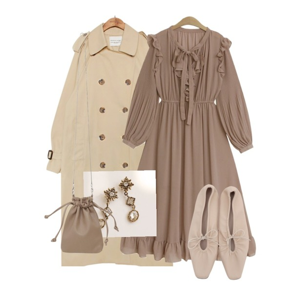 From Beginning String sharp flat shoes_H (size : 230,235,240,245,250),TODAY ME 로랑 원피스,common unique DOUBLE BREAST TRENCH COAT등을 매치한 코디
