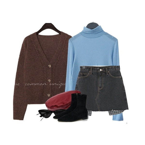 common unique DAY WOOL 60% TWIST KNIT CARDIGAN,AFTERMONDAY tencel pola tee (5colors),ROCOSIX 오즈위고 포켓 스커트등을 매치한 코디