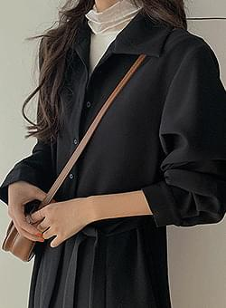 Flare Shirt Black Long Dress