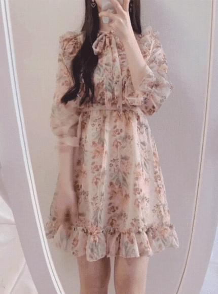 Pitch Flower Ribbon Dress