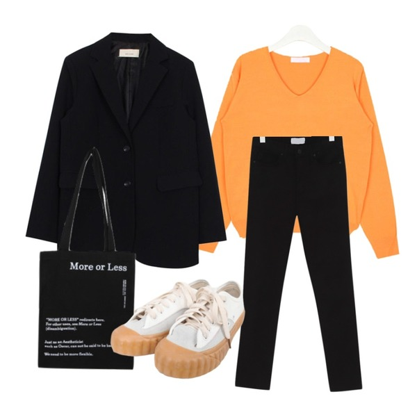 biznshoe Mannish jacket (2color),AIN thin v-neck knit,From Beginning Cozy slim cotton pants_S (size : 25,26,27,28,29)등을 매치한 코디