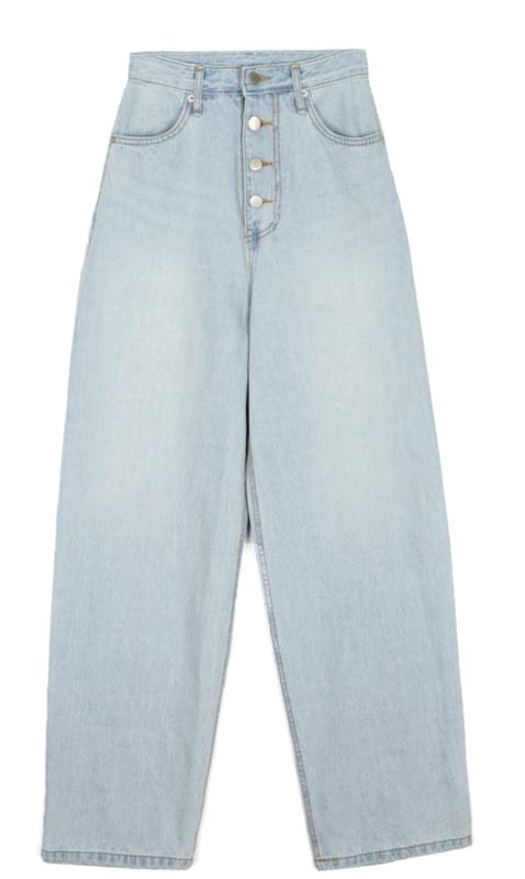 4-button wide denim pants - woman