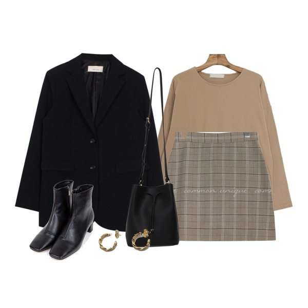 biznshoe Mannish jacket (2color),Zemma World 16수 컬러무지 박시티(커플룩추천),common unique SELLY WOOL CHECK A LINE MINI SKIRT등을 매치한 코디