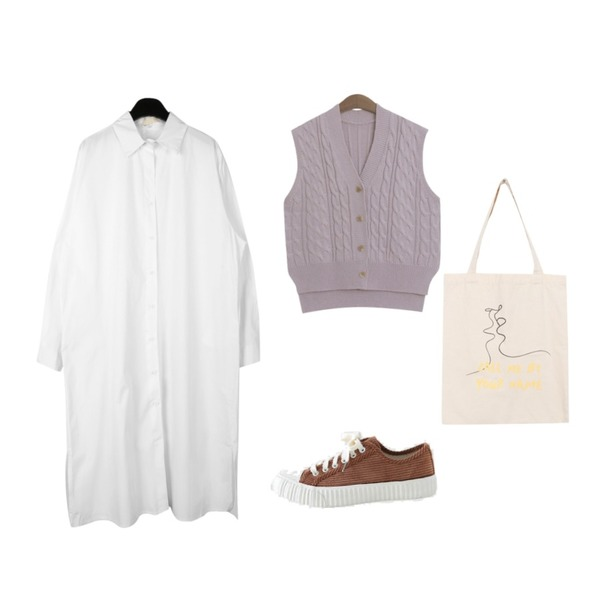 LOVELY SHOES 코듀로이 스니커즈 3cm,daily monday Basic cotton shirt dress,TODAY ME 브렌 니트 조끼등을 매치한 코디