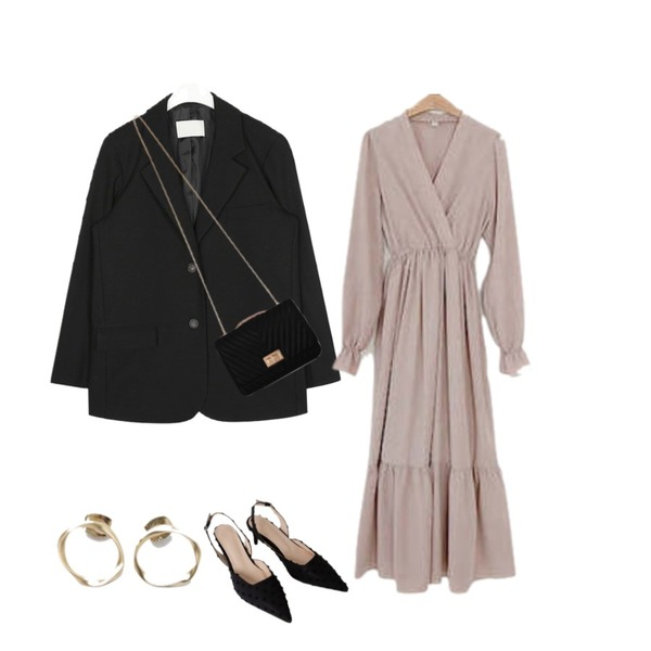LOVELY SHOES 청순 롱 원피스,AFTERMONDAY gorgeous mood stiletto heel (3colors),AIN warm fit daily jacket등을 매치한 코디